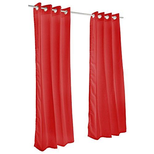 Pawleys Island Sunbrella Curtain - Canvas Jockey Red 120 - Island Gardens Pawleys