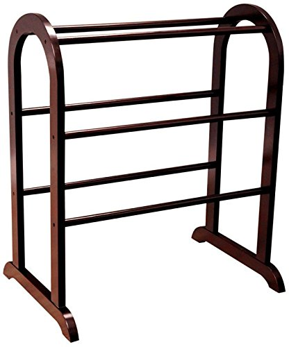 Quilt Rack in Rich Cherry Color with 5 Rails To Organize Your Quilts or Comfort and Make Your Bedroom Organized and Stored Made of Manufactured Wood by eCom Fortune