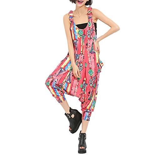 d94a3a416cf RwalkinZ Women s Street Hippie Jumpsuits Overalls Drop Crotch Adjustable  Pockets high-quality