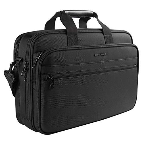 KROSER 17 Laptop Bag Laptop Briefcase Fits Up to 16 Inch Laptop Water-Repellent Light Weight Shoulder Bag Laptop Messenger Bag Computer Bag for Travel/Business/School/Men/Women-Black