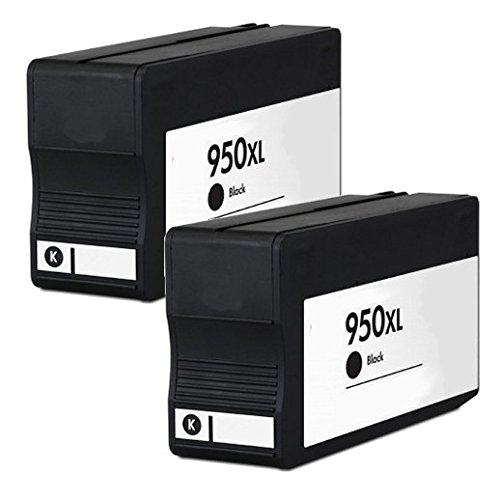 2inkjet© 2 Pack 950XL (CN045AN) Black Remanufactured Ink Cartridge For HP OfficeJet Pro 8100, 8600, 8600 Premium, 8610, 8620, 8630, 251dw, 276dw MFP Printer
