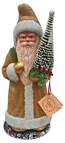 - Pinnacle Peak Trading Company Ino Schaller Beaded Goldenrod Yellow Santa with Tree German Paper Mache