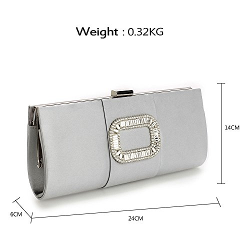 Crystal Purse Clutch UK Fabulous Fabulous DELIVERY Silver Silver FREE Evening q6wTOtZ6Y
