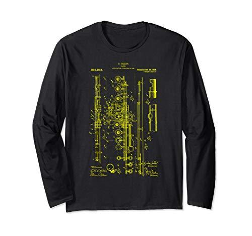 Flutist Gift Flute vintage Blueprint Musician Marching Band Long Sleeve T-Shirt