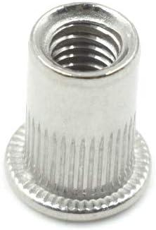 HONJIE M8x18mm 304 Stainless Steel Rivet Nut Flat Head Insert Nutsert-30pcs