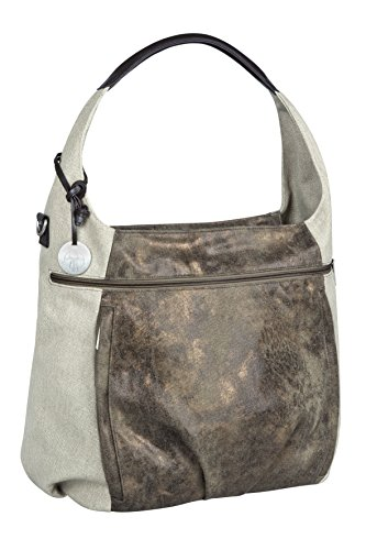(Lassig Casual Hobo Style Diaper Shoulder Bag Handbag Tote-Bag includes Matching Insulated Bottle Holder, wipeable Changing Mat, Stroller Hooks, Olive-Beige )