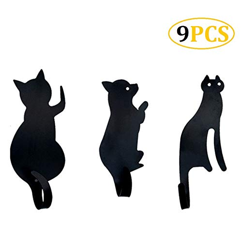 CheeseandU 9Pcs Cute Black Cat Tail Hooks Kitchen Wall Door Metal Self Adhesive Heavy Duty Hooks Key Hanger Cat Tail Bent Shaped Decorative Holder Clothes Storage Rack Tool