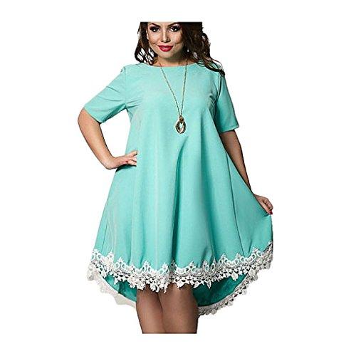 PeeNoke Women 2018 Casual Plus Size Chiffon Patchwork Tassel Dress (Patchwork Tassel)