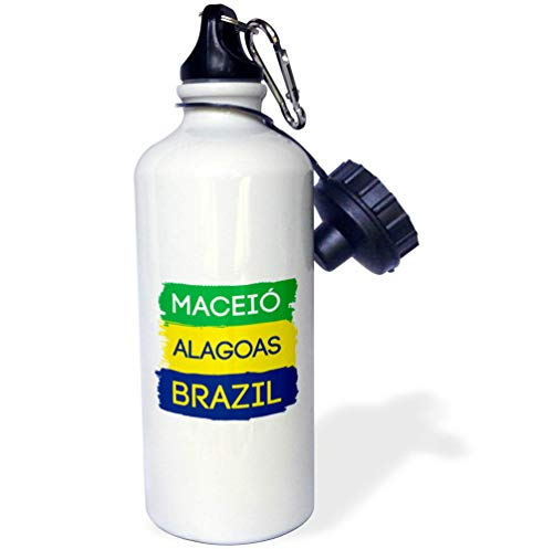 3dRose Alexis Design - Brazilian Cities - Maceio, Alagoas National Colors Patriot Brazil Home Town Design - Flip Straw 21oz Water Bottle (wb_311939_2)