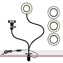 Webcam Light Standfor Live Stream, Selfie Ring Light with Webcam Mount for Logitech C925e, C922x, C930e,C922,C930,C920,C615,Brio 4K