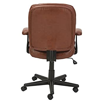 Oif St4859 Swiveltilt Leather Task Chair, Fixed T-bar Arms, Chestnut Brown 3