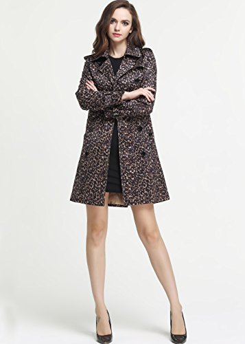 Camii Mia Slim Fit Leopard Double Breasted Trench Coat (Small, Leopard)