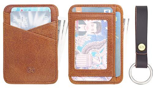 Slim Minimalist Wallet for Men & Women Front Pocket Wallet RFID Blocking Card Holder light brown