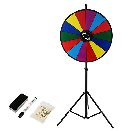 Ztopia 24 Inch Tabletop Color Prize Wheel with Folding Tripod Floor Stand  14 Slots Colorful Dry Erase Trade Show Fortune Spinning Prize Wheel for  Spin