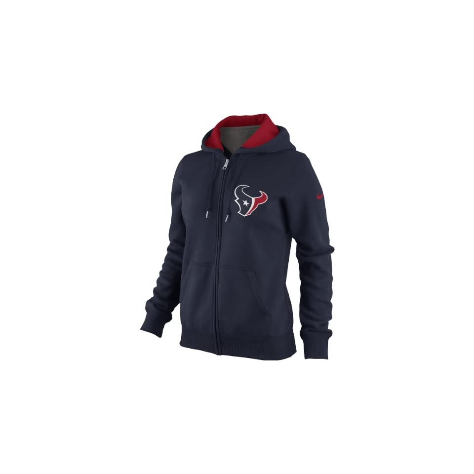 NIKE Womens Houston Texans Tailgater Fleece Full Zip Hoody   Size Medium, Marine/red