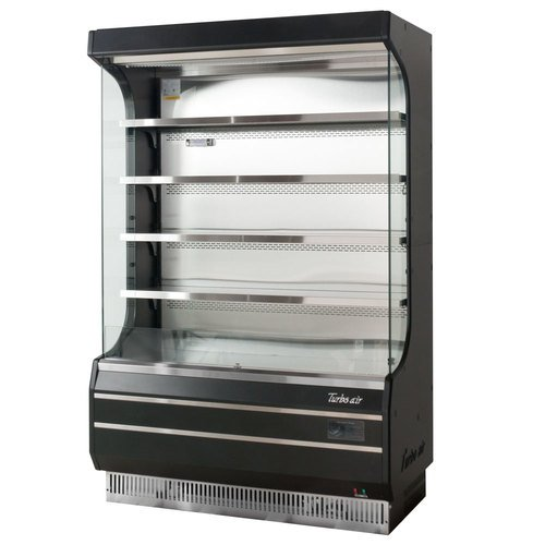 Serve Merchandiser - TOM50B 50 Full Size Display Merchandiser with Efficient Refrigeration System Anti-Rust Coating Attractive Glass Sides Back-Guard and Fluorescent Lighting: Black