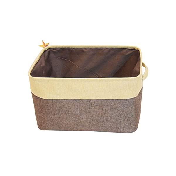 Lanscoe Foldable Baskets Bin Storage Organizer Large Cube Cylindric Linen for Toys Kids Pets with Handles (Design A-Brown)