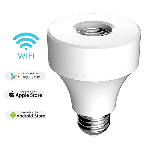 WiFi Light Bulb Socket E26, Smart Led Bulb Adapter Wireless Lamp Holder Works with Alexa and Google Assistant, No Hub Required, App Control from Anywhere by Cotify