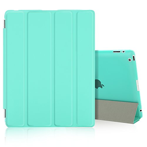 Besdata Ultra Slim Lightweight Smart Stand Cover Auto Wake/Sleep Function & Translucent Back Case for Apple iPad 2 / iPad 3 / iPad 4 Bundle with Screen Protector, Cleaning Cloth & Stylus (Mint Green) (4 Bundle Case)