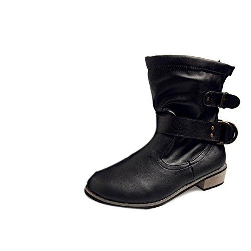 de Botas Botines Retro Cabeza Negro Tefamore Otoño de Nieve Planos Redonda Mujer Zapatos Invierno IgXxY