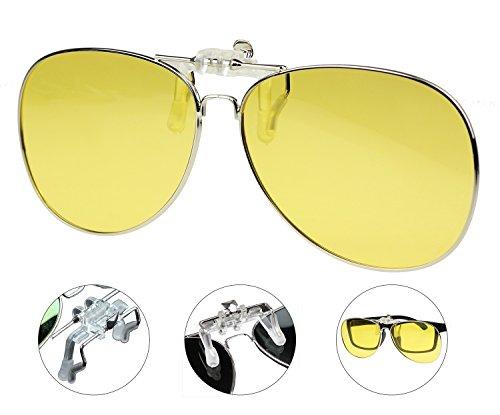 6935fad759d Jaky Night Vision Retro Polarized Lens Glasses Clip on Flip up High Grade  Silicone Clip Classic AVIATOR Reflective UV400 UV Protection Mens Womens ...