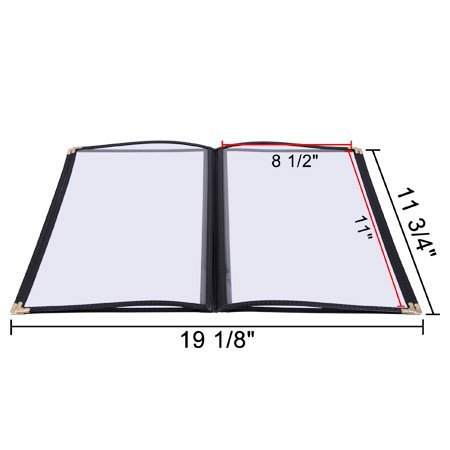 20 4 Page 8 View Menu Covers 8.5x11 Protective Corner Restaurant Book Cafe Black