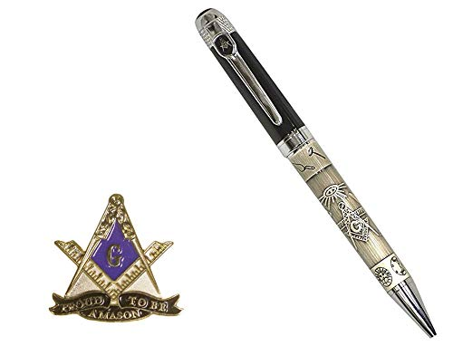 Hattricks Goodimpression Beautiful Masonic Embossed Ink Pen and a Proud to Be a Mason One Inch Lapel Pin