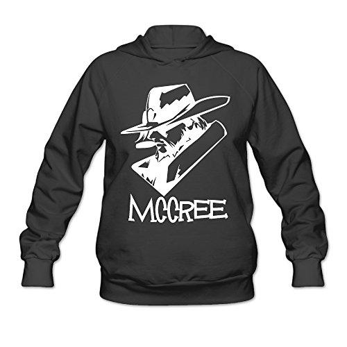 Overwatch Women's Mccree Head Logo Hoodies Sweater Size XL Black (Karaoke Machine For Iphone 5c)