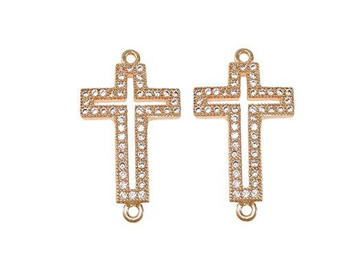 Pave Cross Charm - jennysun2010 Clear Zircon Gemstones Cubic Zirconia Pave Bracelet Connector Charm Beads Cross - Rose Gold 3 pcs per Bag for Bracelet Necklace Earrings Jewelry Making Crafts Design