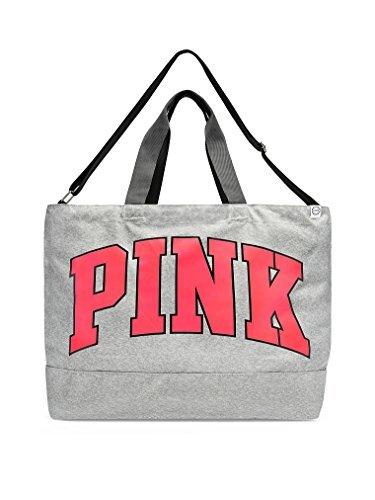 Victoria's Secret Pink Weekender 2017 Oversized Duffle Tote Bag Grey Neon Red Logo (Tote Pink Bag Victoria Secret)
