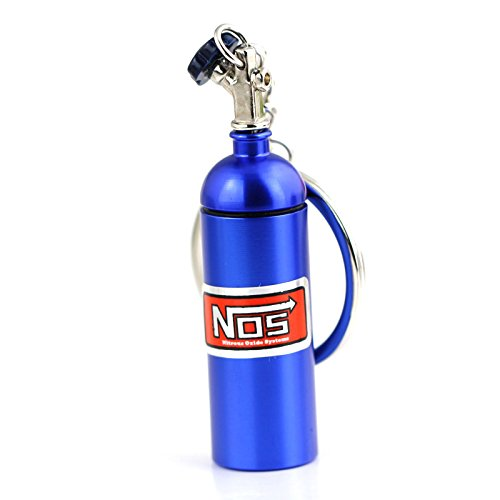Maycom Creative New NOS Mini Nitrous Oxide Bottle Keyring Key Chain Ring Keyfob Stash Pill Box Storage Turbo Keychain (Blue 6cm Height)