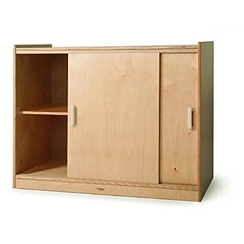 Elegant Whitney Brothers Birch Laminate Sliding Doors Storage Cabinet