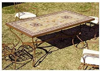 Forja Hispalense Mesa de jardín Marbella - Óxido 26, Pie de Mesa con Mosaico de Piedra Natural pequeño: Amazon.es: Hogar