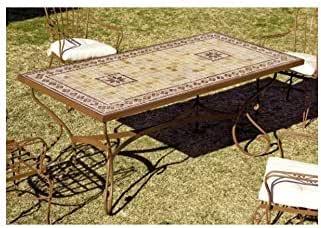 Forja Hispalense Mesa de jardín Marbella - Natural 48, Pie de Mesa con Mosaico de Piedra Natural pequeño: Amazon.es: Hogar