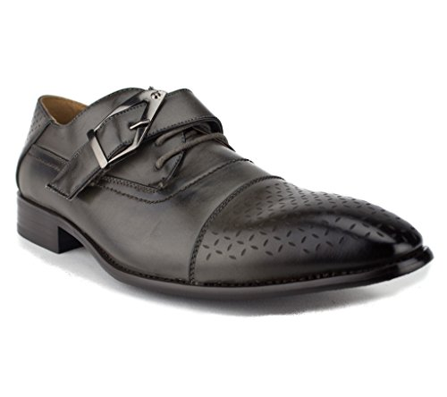 Buckle w Floral Belt Shoes Lace 97711 Majestic Brogues Men's Perforated Grey Dress up 01zW8Eqw