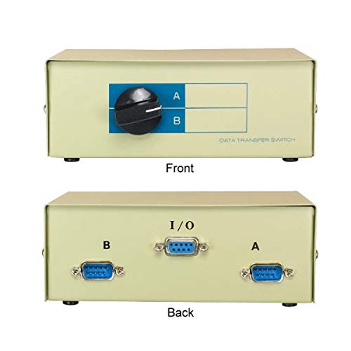 KENTEK DB9 Male 2 Way Manual Data Switch Box RS-232 D-Sub 9 Pin I/O AB Port for PC MAC to Peripherals Devices Printer