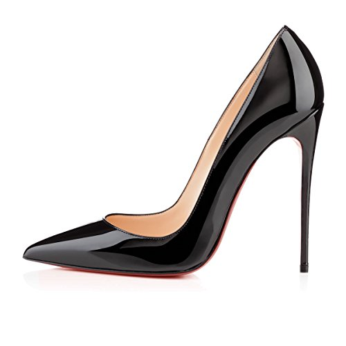 Arc-en-ciel zapatos de las mujeres del tacón alto de la bomba del dedo del pie en punta Negro