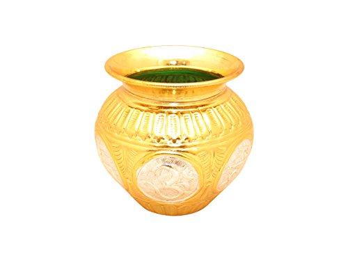 (GoldGiftIdeas Gold-Silver Plated Pooja Kalash, Nakshi Lota for Home Temple, Pooja Items for Home, Pooja Thali Set, Housewarming Gift)