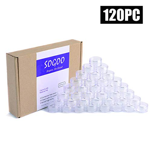 120 PCs 5 Gram Empty Plastic Cosmetic Samples Container for Make Up, Eye Shadow, Nails, Powder, Gems, Beads, Jewelry, Cream Small Clear Pot Jars with Lid (Bead Plastic Containers)