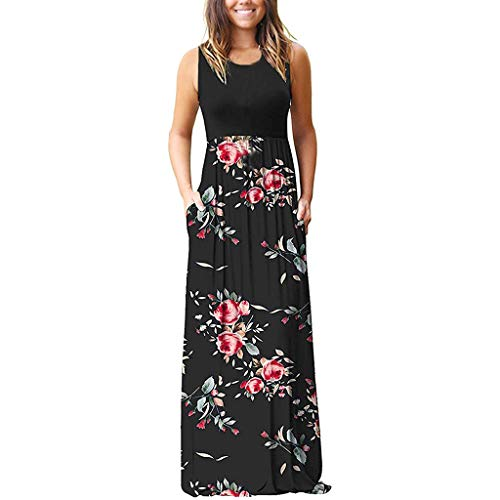 Londony❀♪ Women's Sleeveless Racerback Loose Plain Maxi Dresses Casual Long Dresses with Pockets (Best Pleaser Mens Sneakers)
