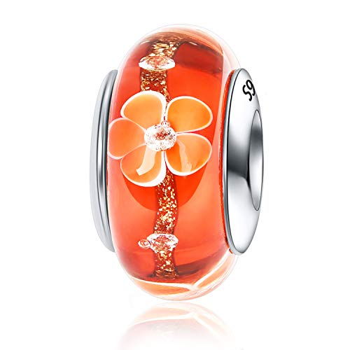 Plum Blossom Charm 925 Sterling Silver Water Drops Flower Charm Murano Glass Bead for Bracelet