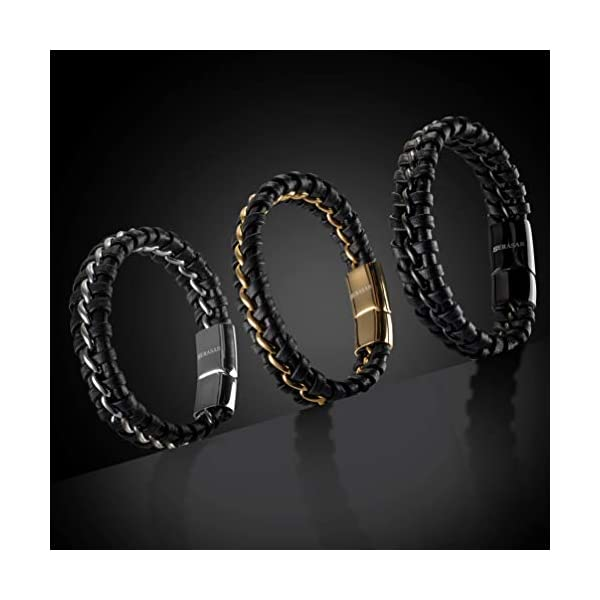 SERASAR | New | Premium Genuine Leather Bracelet for Men in Black | Polished Magnetic Stainless Steel Closure in Black, Silver and Gold | Exclusive Jewellery Box | Great Gift Idea