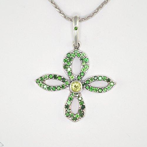 Sterling Silver Cross Necklace - Cross Pendant with Tsavorite & Peridot w/18