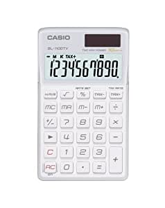 Casio SL-1100TV-WE - Calculadora (bolsillo, Básico, Color blanco, LR 54, 60g, 70 x 118,5 x 8,5 mm)