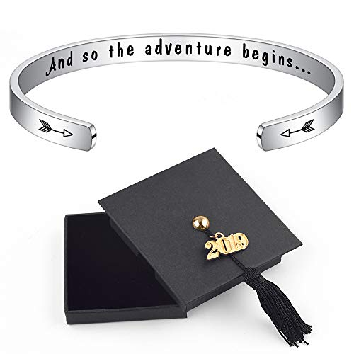 (2019 Inspirational Graduation Gifts Bracelet - Engraved And So The Adventure Begins Inspirational Bracelets for Birthday Gifts Friendship Classmates Fight Cancer Gifts Personalized Mantra Cuff)