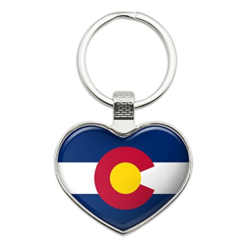 Colorado State Flag Heart Love Metal Keychain Key Chain Ring