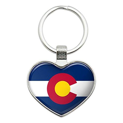- Colorado State Flag Heart Love Metal Keychain Key Chain Ring