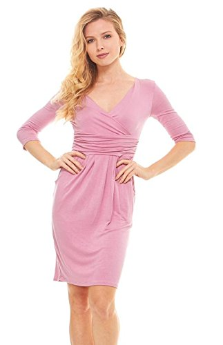 Womens Basic V-Neck Sleeve Dress - 3/4 Sleeve Wrap Pencil Dress With Pockets(S,Rose)