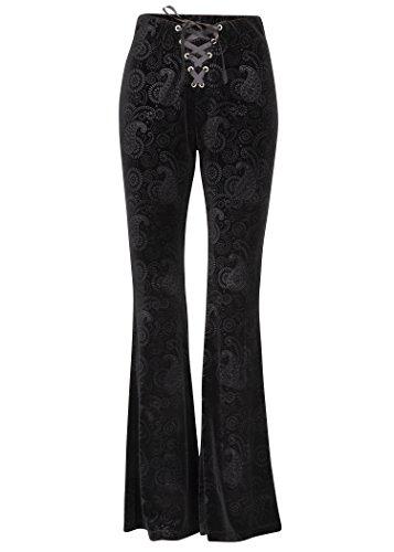 Womens Black Burnout Velvet Satin Lace Up Flared Bell Bottom Pants - Size Medium