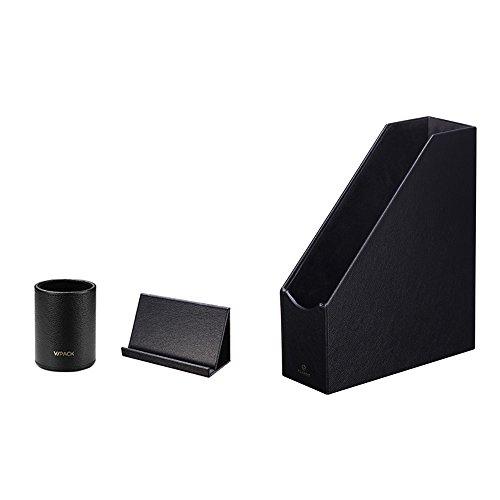 (VPACK Magazine File Holder Set - Pencil Cup Pen Holder Pad Stand - Desk Stationery Organizer (Onyx Black Set of 3))